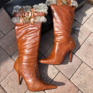 AnneMichelle Accent Pointy Toe Knee High Boots 6.5